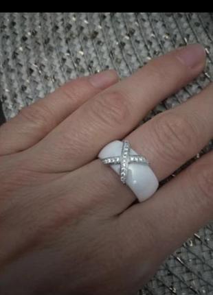 Кольцо керамика белое керамическое колечко