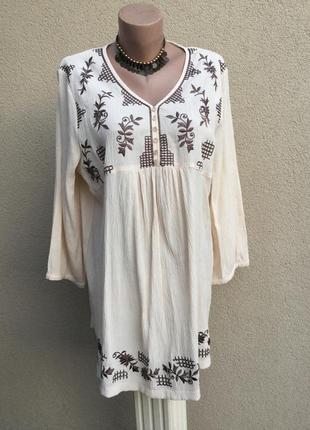 Блуза,рубаха с вышивкой,вискоза-жатка,этно,бохо стиль,afibel,большой размер