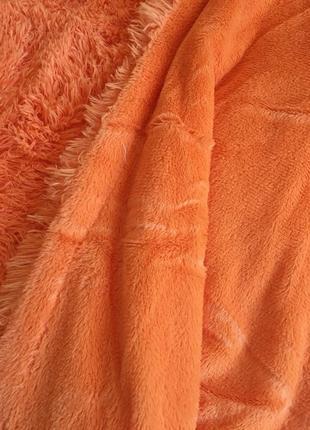 Плед покрывало мех травка евро оранж