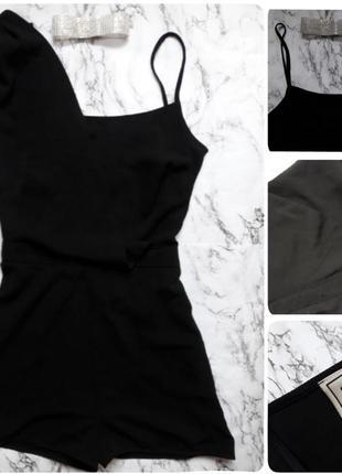 Ромпер черный асимметричный шорты