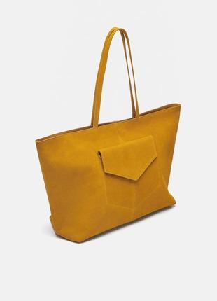 Натуральная кожаная сумка шопер zara оригинал