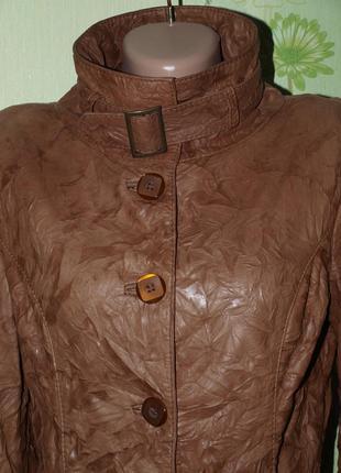 Брэндовая курточка пиджак натуральная кожа m