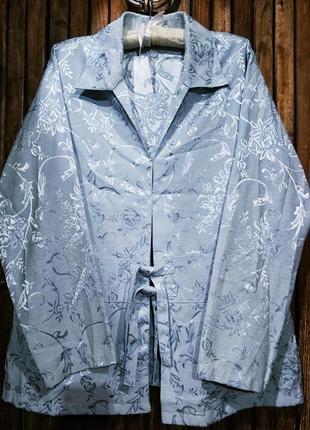 Нереально красивый блейзер пиджак жакет летний вечерний zhensi атлас с вышивкой