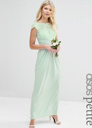 Нарядное длинное бирюзовое платье с кружевом asos.