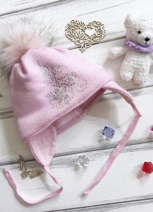 Красивая тёплая зимняя шапка для девочки 36/38 grans poland