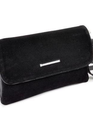 Чёрный замшевый женский молодёжный клатч на длинном ремне .маленькая сумочка натур .замша