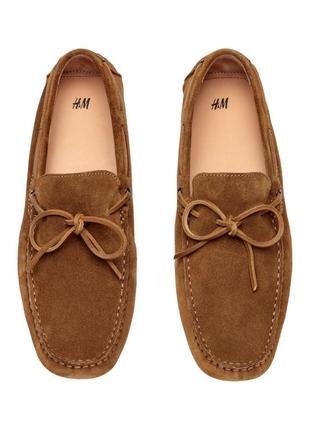 Туфли мокасины замшевые коричневые h&m 45 натуральная кожа premium quality