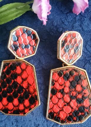 Серьги в стиле zara красные тигровый принт сережки