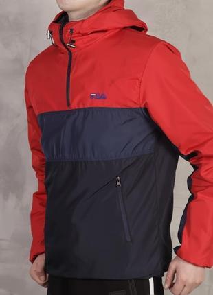 Шикарная мужская куртка ветровка fila чёрная красная