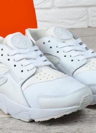 Кроссовки мужские кожаные nike huarache белые с текстилем
