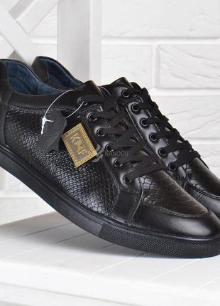 Туфли мужские кожаные kf style повседневные черные на шнуровке