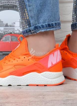 Кроссовки женские nike air huarache ultra living coral оранжевые с белым5 фото