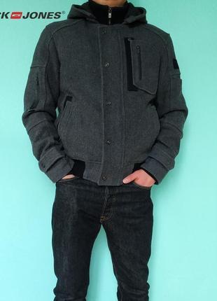 Теплая осенняя весенняя мужская куртка из шерсти lack & jones