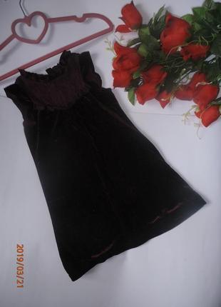 Милое бархатное платье с кружевной кокеткой и рюшами lily&dan