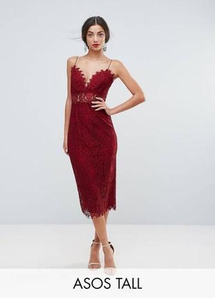 Вечернее, коктейльное кружевное платье, красное (бордовое, марсала), платье-футляр, миди.