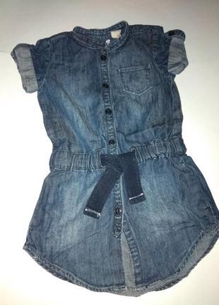 Джинсовое платье-туника для модницы