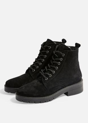 Замшевые ботинки / полуботинки на шнуровке topshop, натуральная замша