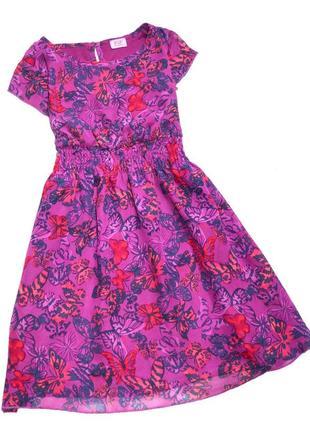 F&f. платье сиреневое в бабочки. 7-8 лет. рост 128 см.