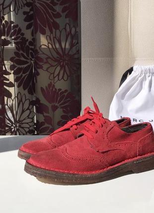 Замшевые итальянские броги, туфли на шнуровке, натуральная замша