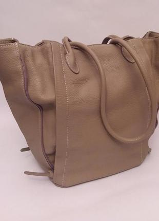 Италия! k&n! шикарная обьемная трендовая кожаная сумка шоппер темный nude