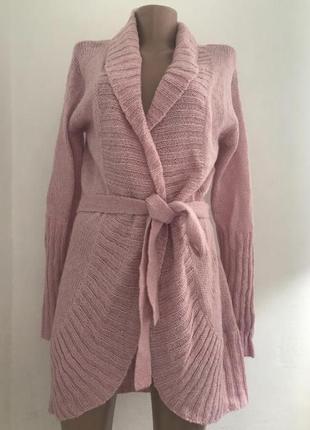 Супер цена!!! вязанный пудровый кардиган туника накидка outfit размер с м л
