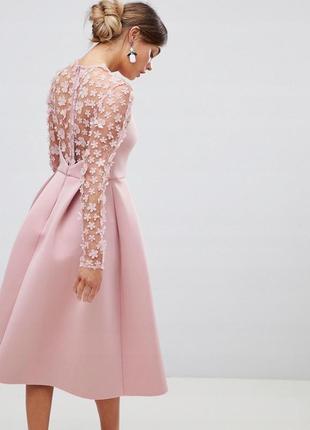 Весеннее романтичное  платье 3d цветы  неопрен asos