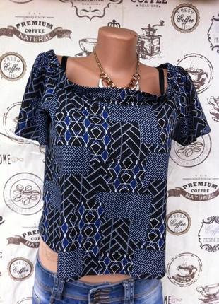 Классная креп-шифоновая блузочка, с открытыми плечиками, размер с-м, сост отличное