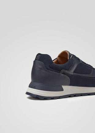 Синие кожаные комбинированные кроссовки