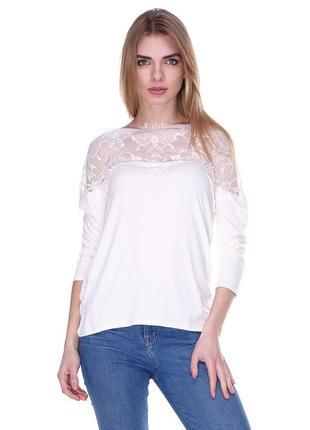 Блуза цвета айвори asos. широкое ажурное кружево по верху!