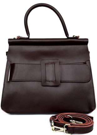 """Женская кожаная сумка """"queen"""" темно-коричневая"""