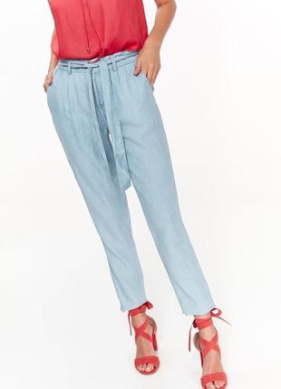 Легкие летние длинные штаны брюки под выбеленный джинс с высокой посадкой на поясе варенки