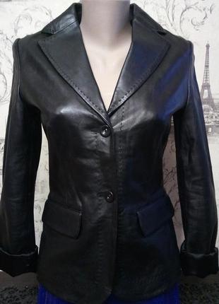 🐞стильная черная кожаная куртка-пиджак mng премиум-класса,натуральная кожа,пиджак