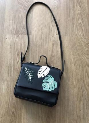 Идеальная сумка mango чёрная листья чемодан портфель