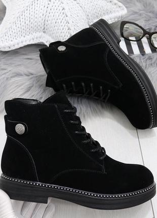 Новые черные женские весенние ботинки