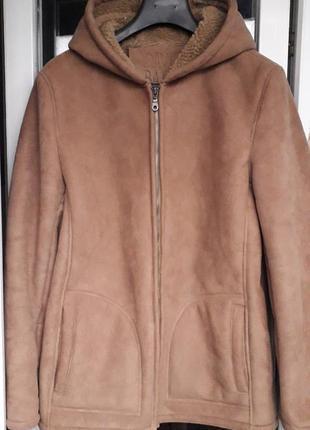 David barry куртка дубленка горчичная демисезон зима с мехом капюшоном короткая оверсайз