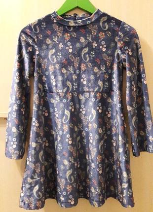 Крутое бархотное платье zara на 8 лет