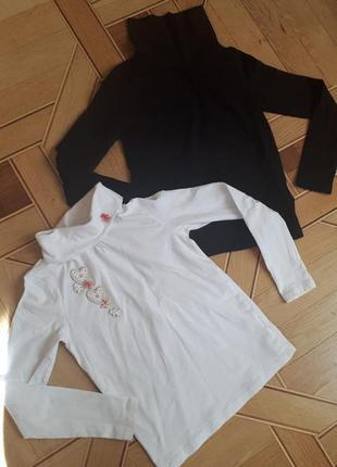 Гольф водолазка для девочки h&m 6-8 лет, 122-128 см, черный и белый, сердце