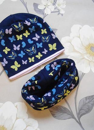Комплект детский для девочки трикотажный двойной  шапка + шарф-снуд польша agbo