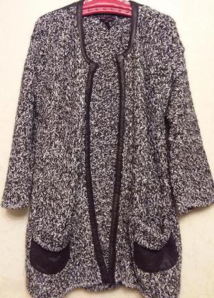 Escada! оригинал! люкс бренд! роскошное актуальное пальто#кардиган отделка кожа