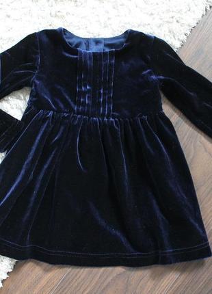 Бархатное платье m&s на 3-6 мес. (62-68см)