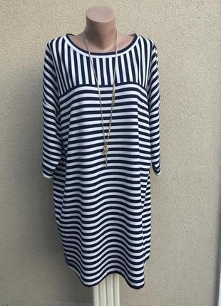 Платье,туника,кофта в полоску,морской стиль,трикотаж ткань,большой размер