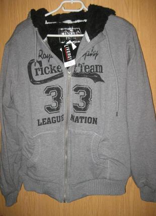 """Новая стрейч. куртка с мехом и капюшоном """"sweat jacket livergy"""" р. l"""