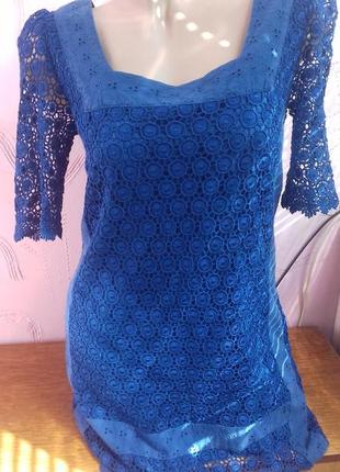 Новое синее шелковое платье шелк с подкладкой р.с s 8/36 marks spencer