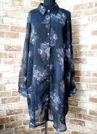 Шифоновая длинная блуза рубашка