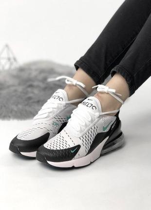 Шикарные кроссовки nike 270 с баллоном в бело-черном цвете