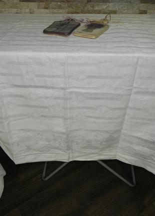 Роскошная белоснежная скатерть жаккард премиум irisette германия (большая 190/225)