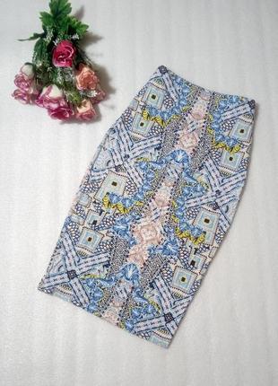 Классная миди юбка спфдниця карандаш от select в ацтекский принт размер s