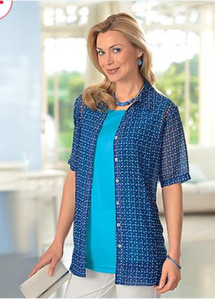 Брендовая голубая шифоновая блуза gabriella vicenza большой размер