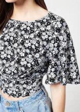 Блуза кроп топ в цветочный принт с воланами на рукавах zara2 фото
