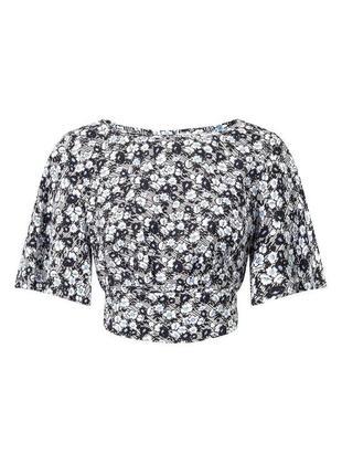 Блуза кроп топ в цветочный принт с воланами на рукавах zara3 фото
